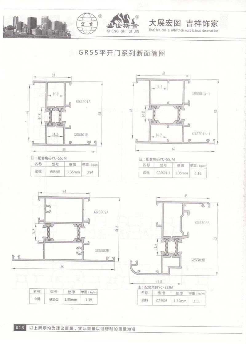 GR55平开门系列断面简图2