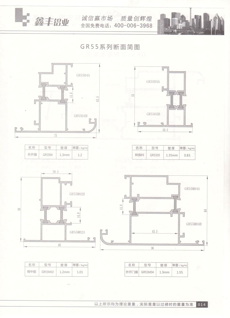GR55系列断面简图