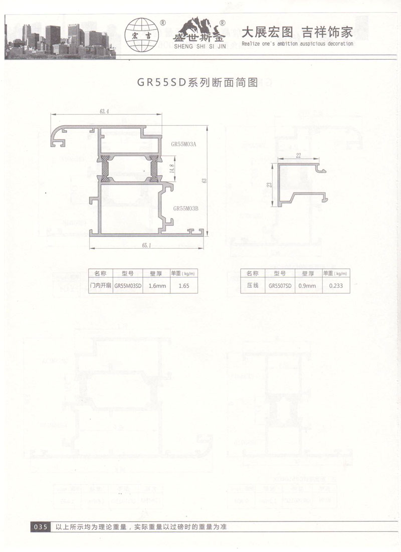 GR55SD系列断面简图