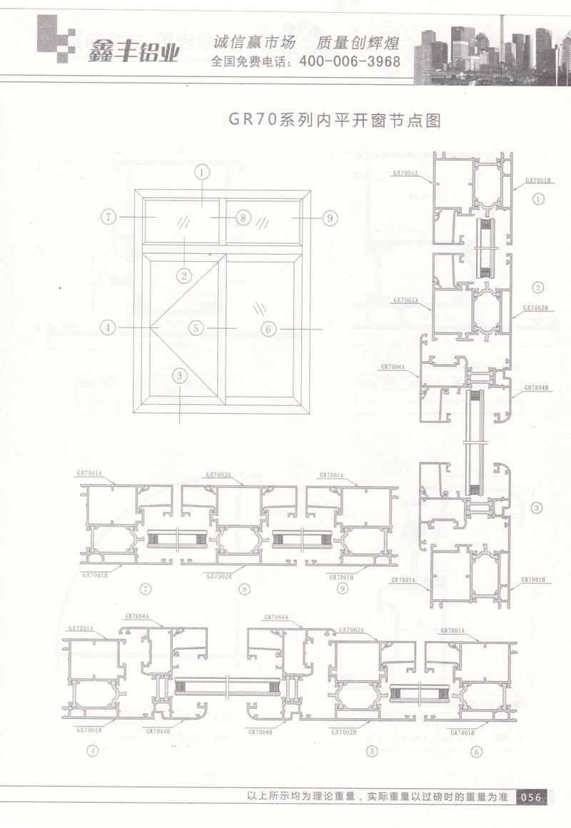 GR-70系列内平开窗节点图
