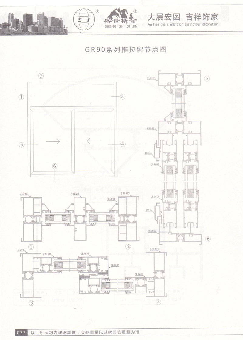 GR90系列推拉窗节点图