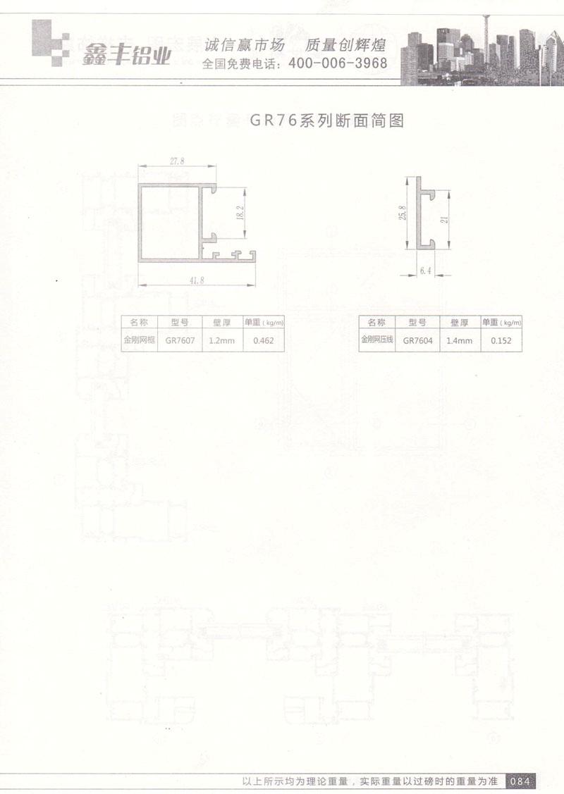 GR76系列断面简图
