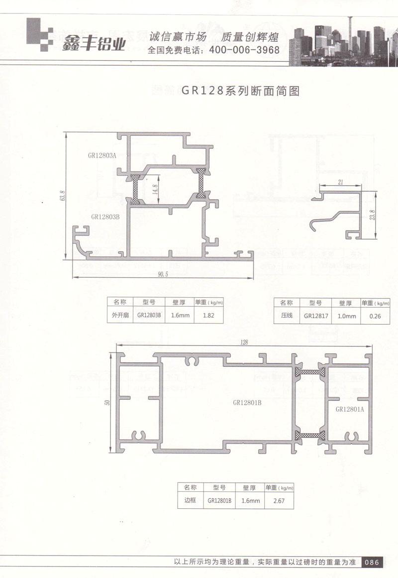 GR128系列断面简图