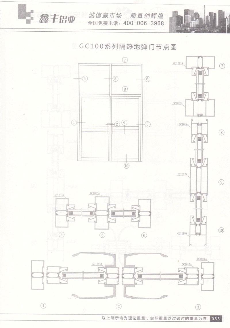 GC100系列隔热地弹门节点图