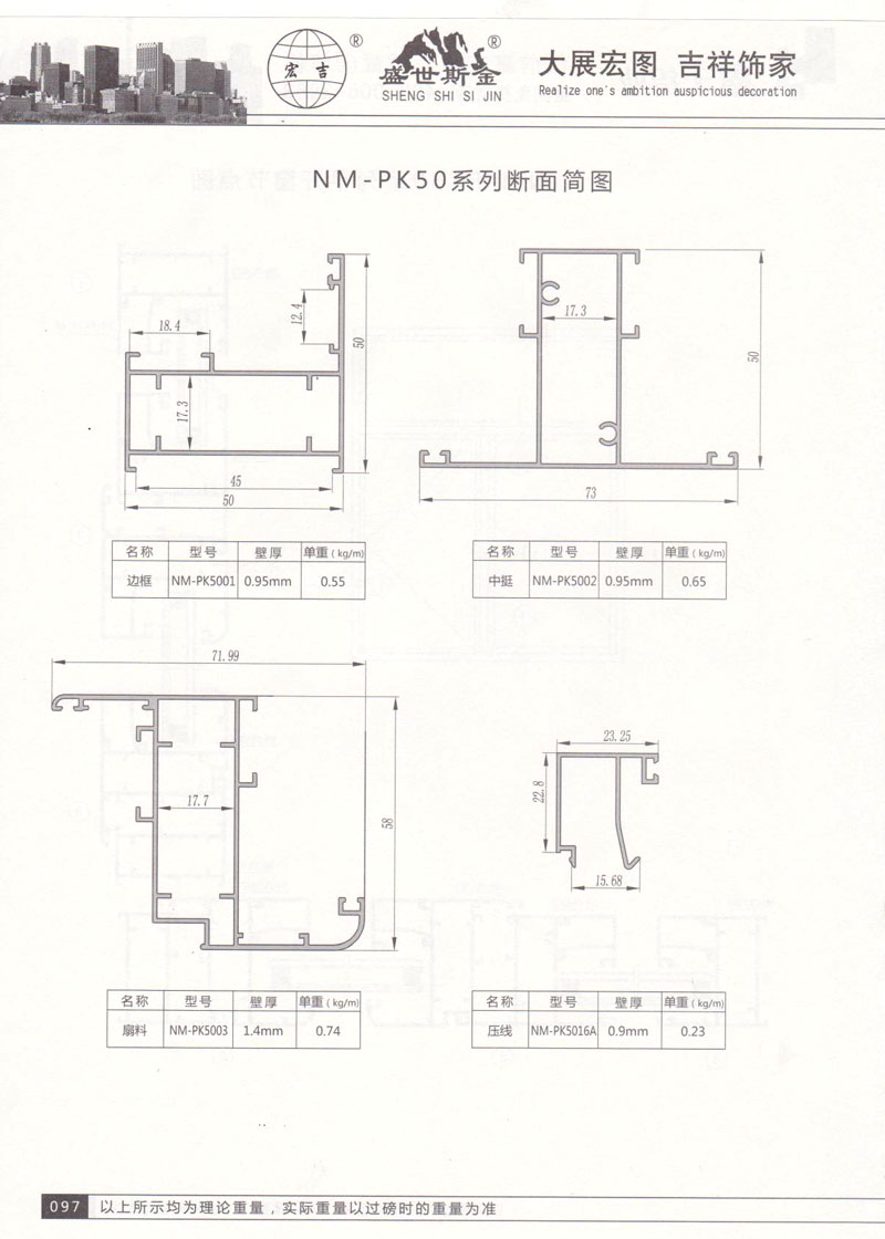 NM-PK50系列断面简图