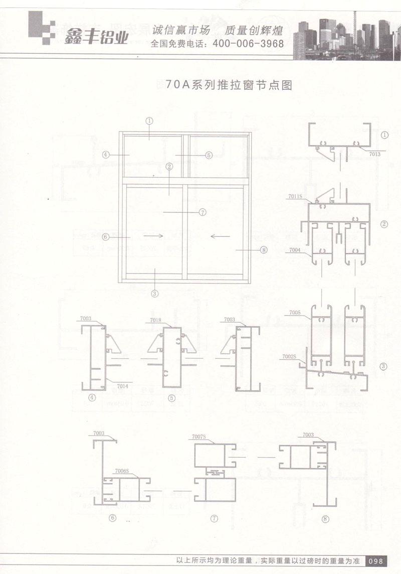70A系列推拉窗节点图