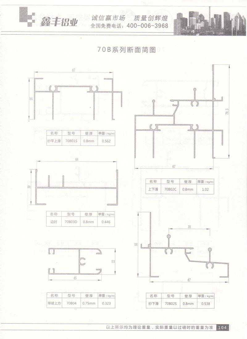 70B系列断面简图