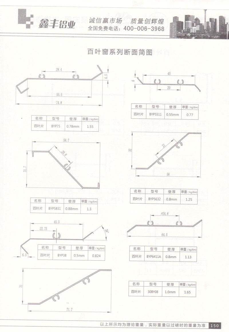 百叶窗系列断面简图