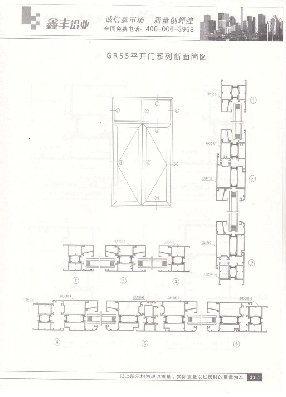 GR55平开门系列断面简图