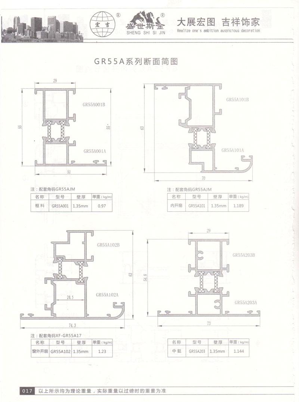 GR55A系列断面简图