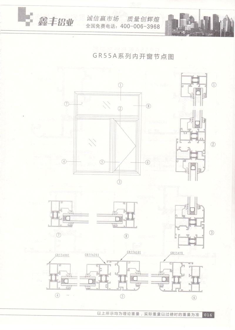 GR55A系列内开窗节点图