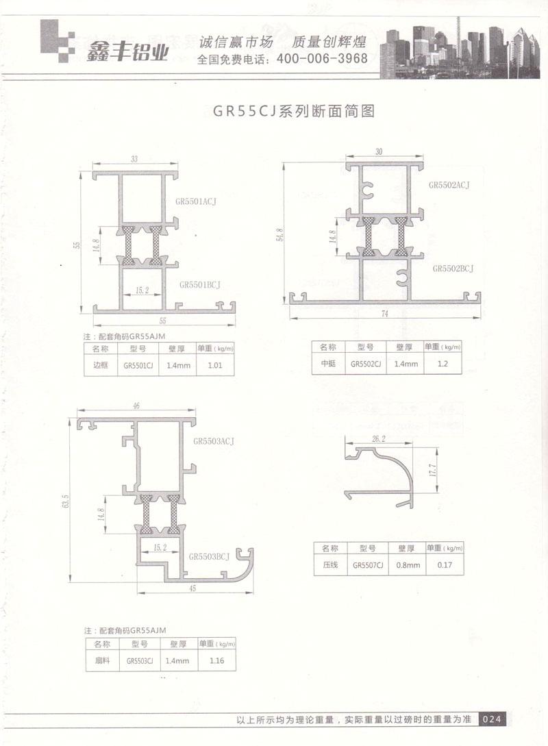 GR55CJ系列断面简图