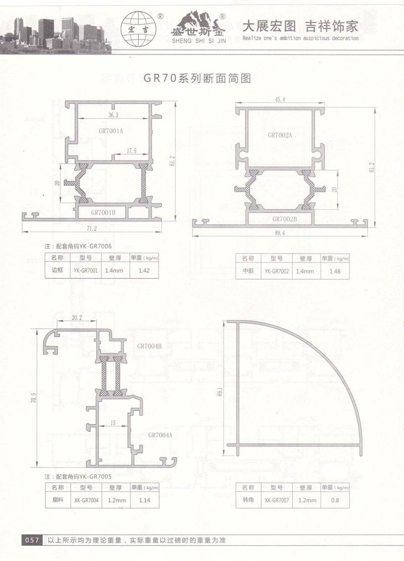 GR-70系列断面简图