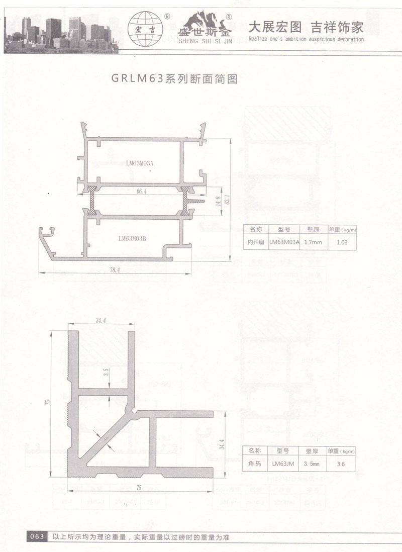 GRLM63系列断面简图