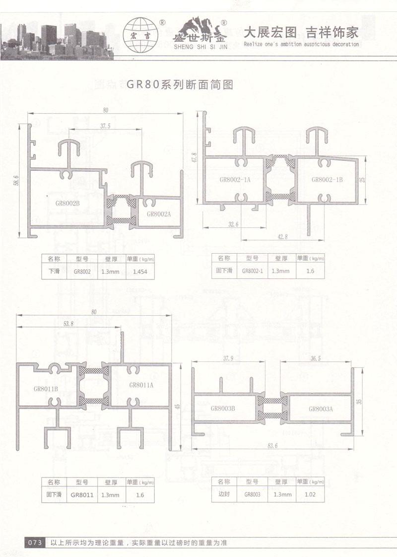 GR80系列断面简图