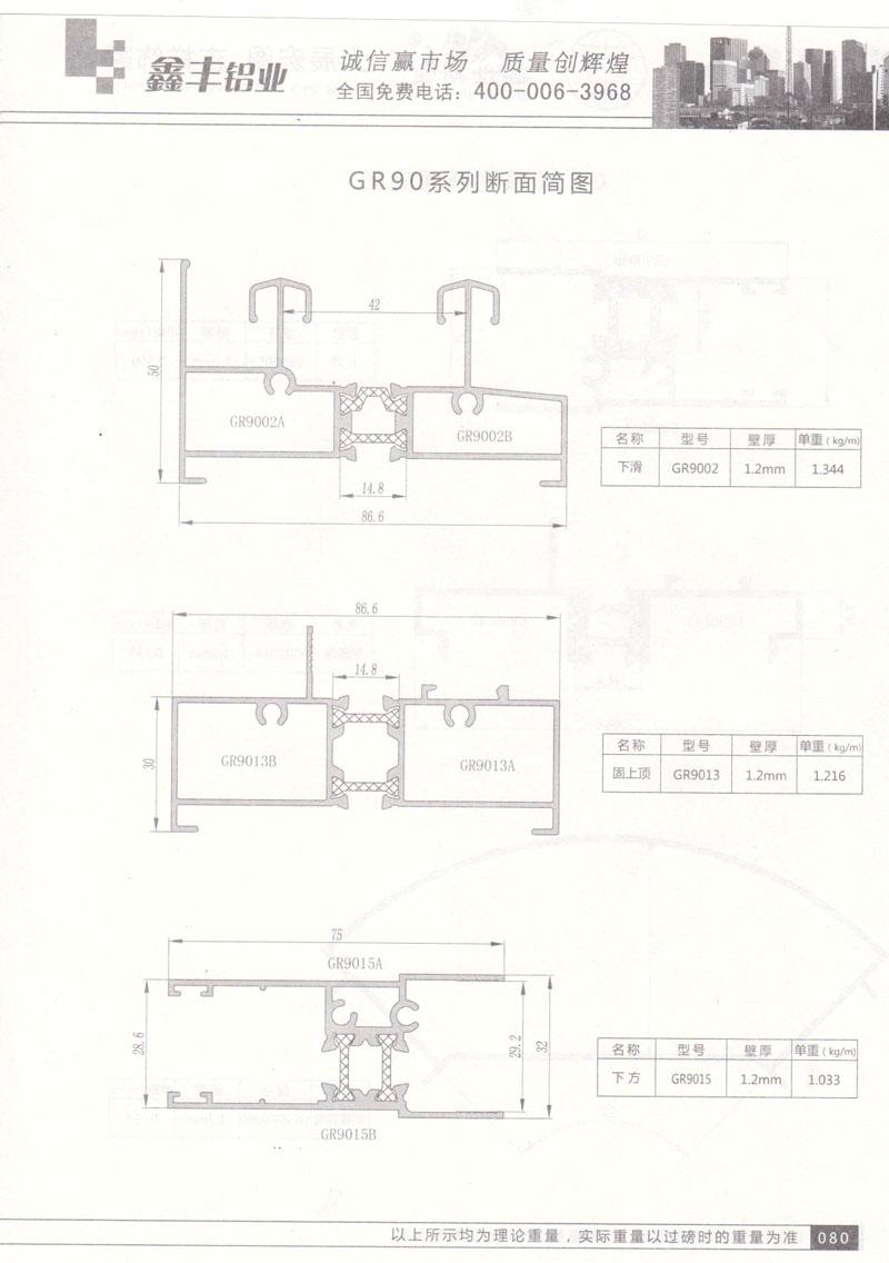 GR90系列断面简图