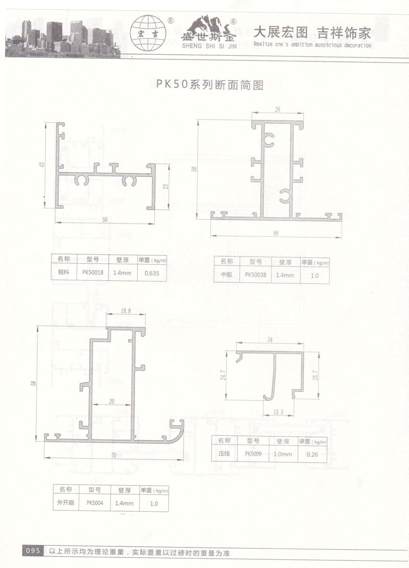 PK50系列断面简图