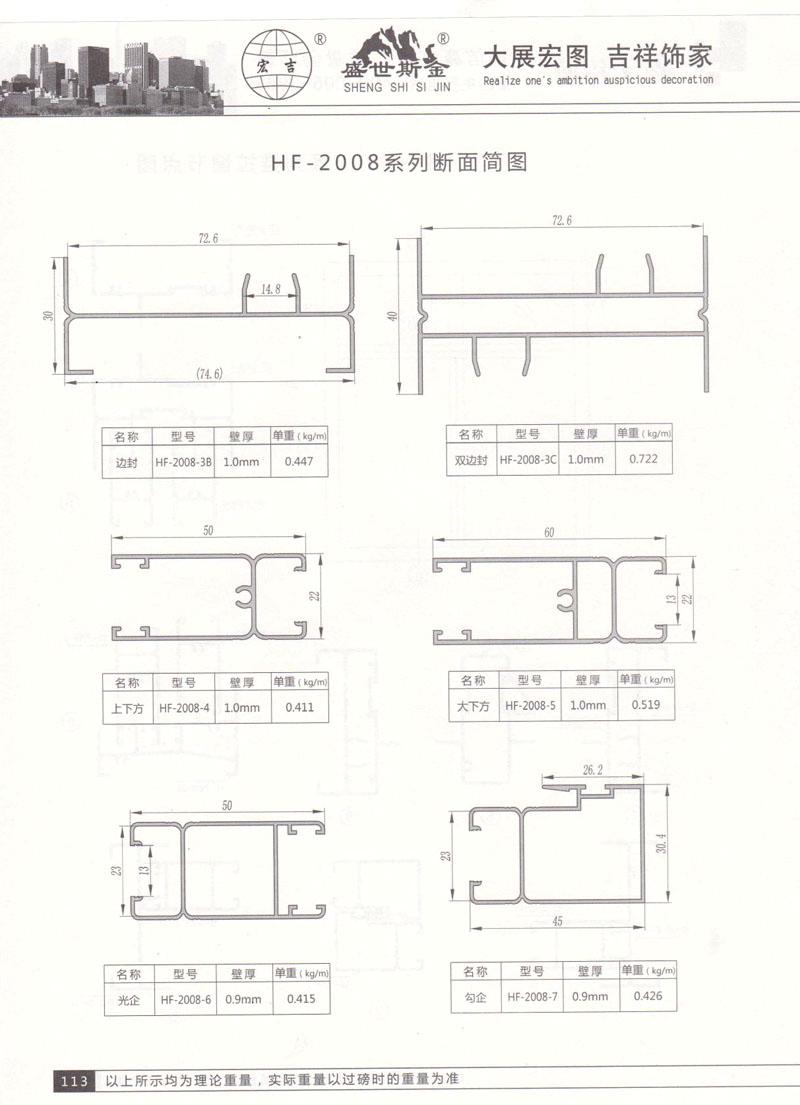 HF-2008系列断面简图