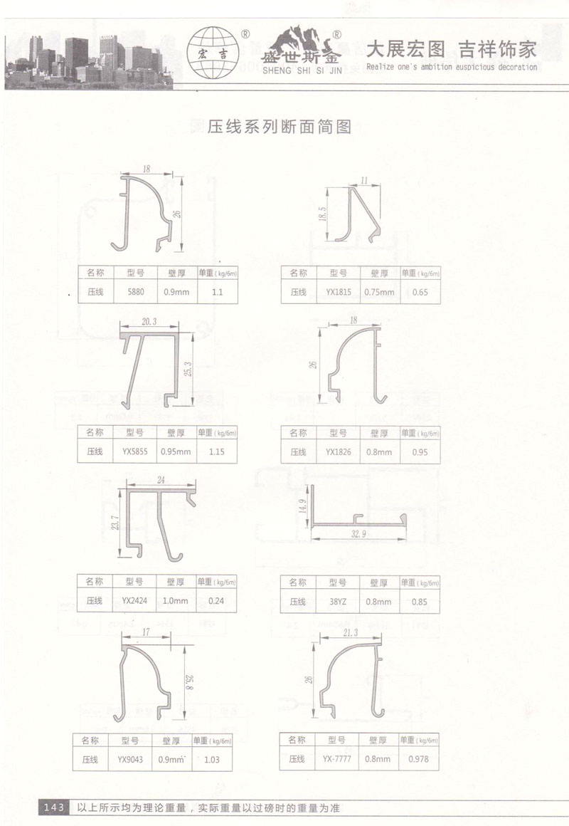压线系列断面简图
